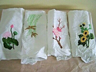 Antique Applique Towels Or Napkins Very Lovely
