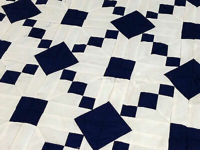Unusual Navy Blue & White Single Chain variation- Graphic QUILT TOP -