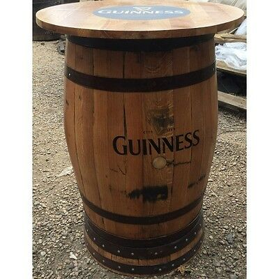 Solid Wooden Oak Recycled Whisky Keg Guinness Branded Pub Table with Round Top