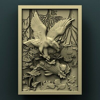3d STL Model Relief for CNC Router Aspire _ (0278) Eagle