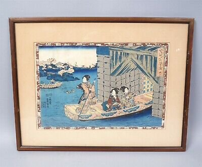 Late 18th Early 19th Century Toyokuni Japanese Woodblock Print Geishas on Boat