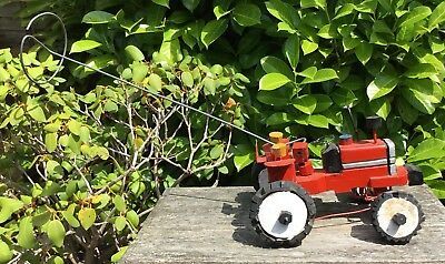 Vintage Retro Naive Handmade Wooden Red Toy Tractor Push Along Steering Toy