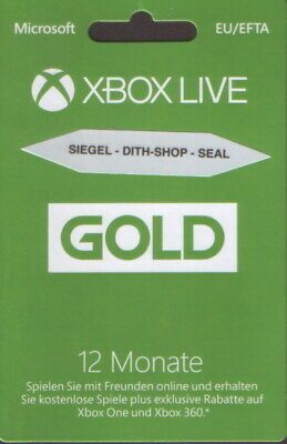 XBLive  Card 12 Monate Gold NEU  DEAT