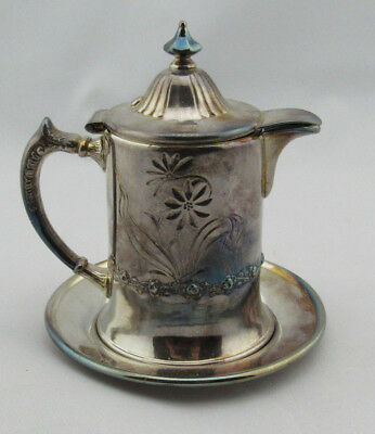 Pairpoint Quadruple Silverplate SYRUP PITCHER with Undertray 1747