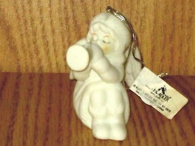 Kurt Adler Ceramic Angel with Horn Christmas Tree Ornament New with Tag