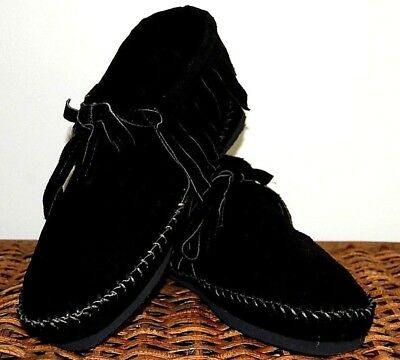 Black Suede Soft Moccasins mens low boot fringe Indian lace Pawnee Style Tehuas
