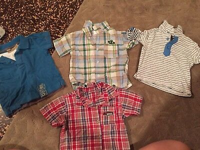 Lot Of 18 Month Boys Polo Style Or Button Up Short Sleeve Shirts Blue Green Red
