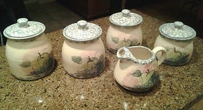 Set of 4 Pottery Stoneware Canisters and Pitcher Fruit with Blue Sponge