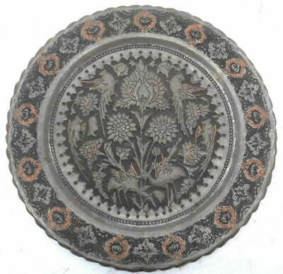 Antique Persian Islamic Metal Plate middle eastern Tray Platter charger Qajar