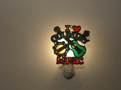 Beautiful I Love Country Music Stained Glass Style Night Light