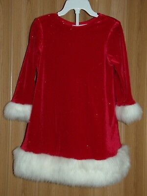 2f597937508d CHANTILLY PLACE GIRLS 3T RED GLITTER w/WHITE FAUX FUR TRIMMED HOLIDAY DRESS