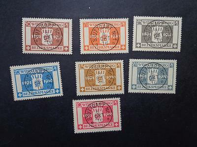 GERMANY WURTTEMBERG 1916 25th ANV KING WILHELM II SET SCOTT O33-39 Used  CV 180