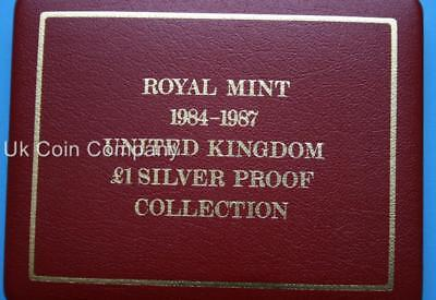 Royal Mint Empty Red Leatherette Coin Box For 4 1984-1987 Silver Proof £1 Coins
