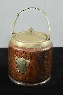 Victorian/Antique English Oak & Silverplate Biscuit Barrel With Porcelain Insert