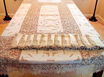 Antique Tablecloth Napkins Linen Needle Lace Reticella Embroidered 12 Napkin Set