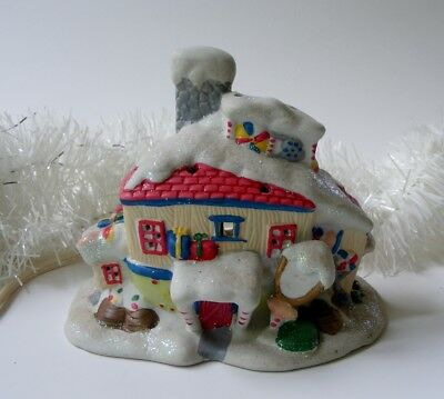 Christmas Village Funky Candy Shop Lighted House with 6 Foot Cord on/off switch