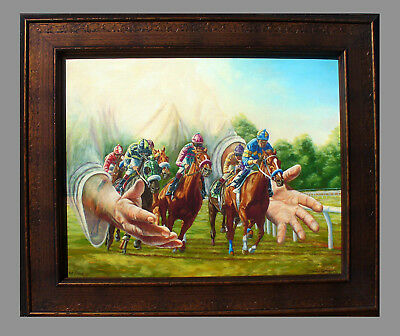 It's All in the Hands Horse Racing Framed LE Giclee Print By Tom Chapman