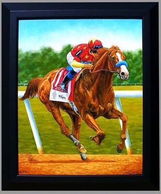 Justify Wins Belmont and Triple Crown Race Horse Giclee Print Tom Chapman 24x20