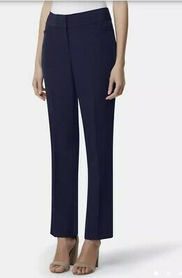 Tahari ASL Womens Dark Blue Pinstripe Dress Pants Straight Leg Trousers 10 NWOT