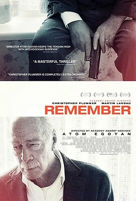 """Remember movie poster - Christopher Plummer, Atom Egoyan - 11"""" x 17""""  inches"""