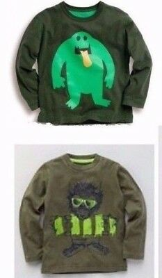2 NEW Mini Boden cool MONSTER music long-sleeve T-SHIRTS BOYS 3 4 fitlike 3T LOT