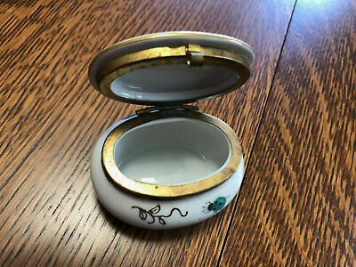 Trinket box-china with brass-hinged lid