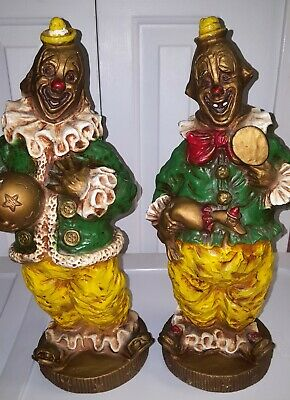 Set of 2 Vintage Creepy Clown Statues by Universal Statuary Corp Mid Century