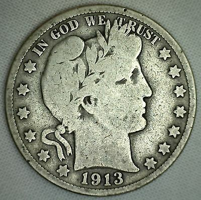 1913 Barber Half Dollar Silver Type Coin Fifty Cents 50c Good US Coin