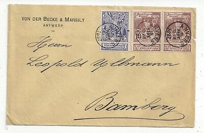 Belgium 1897 Cover to Bavaria, Brussels Exhibition Mix with Labels