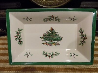 SPODE Christmas Tree Rectangle Collector SERVING TRAY Candy Nut Dish England