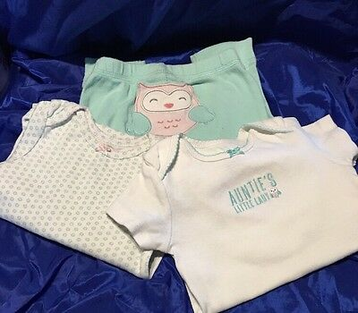 Carter 3 Piece Girls Outfit Mint Green With Owl 18 Months