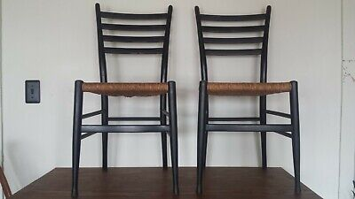 Vintage Pair of Mid-Century Mod Gio Ponti Style Ladder Back Chairs Made in Italy