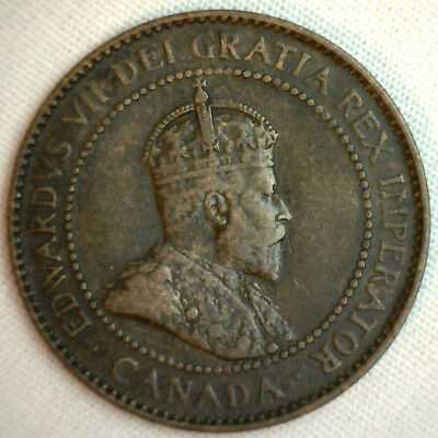 1904 Copper Canadian Large Cent Coin 1-Cent Canada VF #6