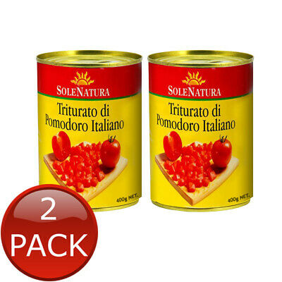 2 x SOLE NATURA DICED TOMATO ITALIAN PEEL QUALITY TOMATOES FLAVOURING COOK 400g