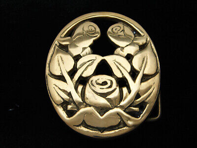 QL09137 *NOS* VINTAGE 1970s CUT-OUT *ROSE FLOWERS* SOLID BRASS BARON BELT BUCKLE