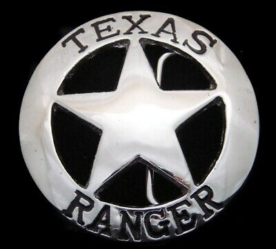 RG20146 *NOS* VINTAGE 1970s **TEXAS RANGER** CHROME OVER SOLID BRASS BUCKLE