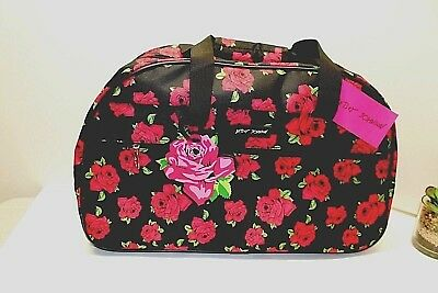 Betsey Johnson COVERED ROSES COLLECTION 22 Inch Rolling Duffel Bag Carry-on NWT