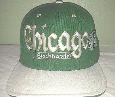 380c8cf3e50a5 Chicago Blackhawks Reebok Kelly Green Shamrock Wool Snapback Baseball Cap  Hat