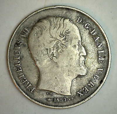 1854 Argento Danimarca 1/2 Rigsdaler Moneta Currency