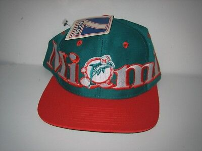 be489b18 miami dolphins hat vtg 80's 90's snap back LOGO 7 NEW tags original NFL  football