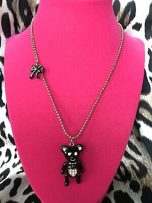 Betsey Johnson Vintage Dream Closet Black Teddy Bear Long Gold Bow Necklace RARE