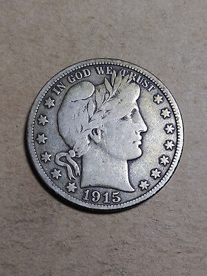 1915 D 50C Barber Half  Circulated  90 % Silver US Coin F+ BH115 FREE SHIPPING