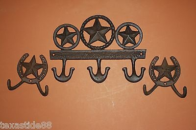 (3) CAST IRON COWBOY RUSTIC LONE STAR COAT AND HAT HOOKS, SET OF 3,  W-XX,27or o