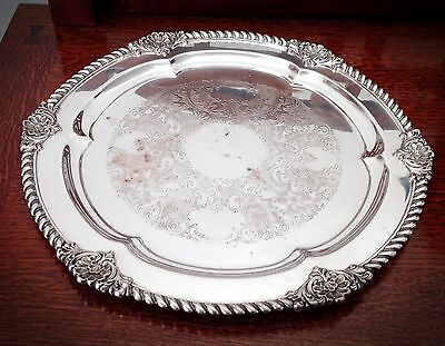 """Antique WB Ornate Round Large Serving Tray - Size 16"""" Diameter - 1/8"""" Thick"""