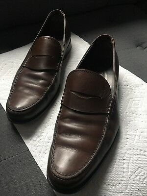 60ba03117b TOD'S BOSTON MENS Shoes Brown Leather Penny Loafers Retail $475 Sz ...