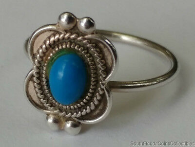 Estate Jewelry Beautiful Turquoise Stone Ring Sterling Silver Size 5