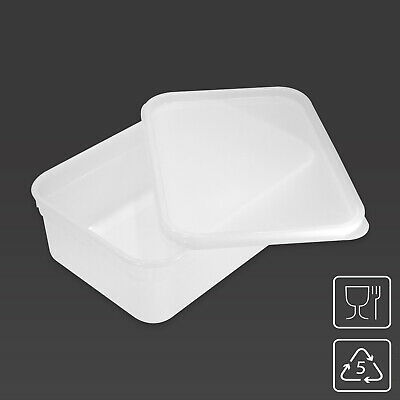2 Litre Rectangular Ice Cream Container / Food Storage Tub Kitchen Box with LID