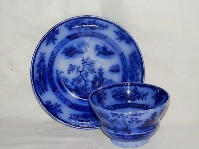 Antique Flow Blue Chapoo Ironstone J. Wedgwood Handleless Cup And Saucer