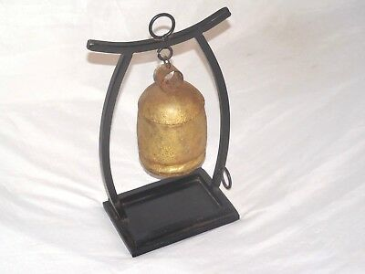 Antique Chinese Wrought Iron Bell Gong With Wrought Iron Stand