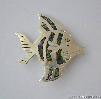 Estate Vintage Mexican .925 Sterling Silver Abalone Fish Brooch Pin 2""